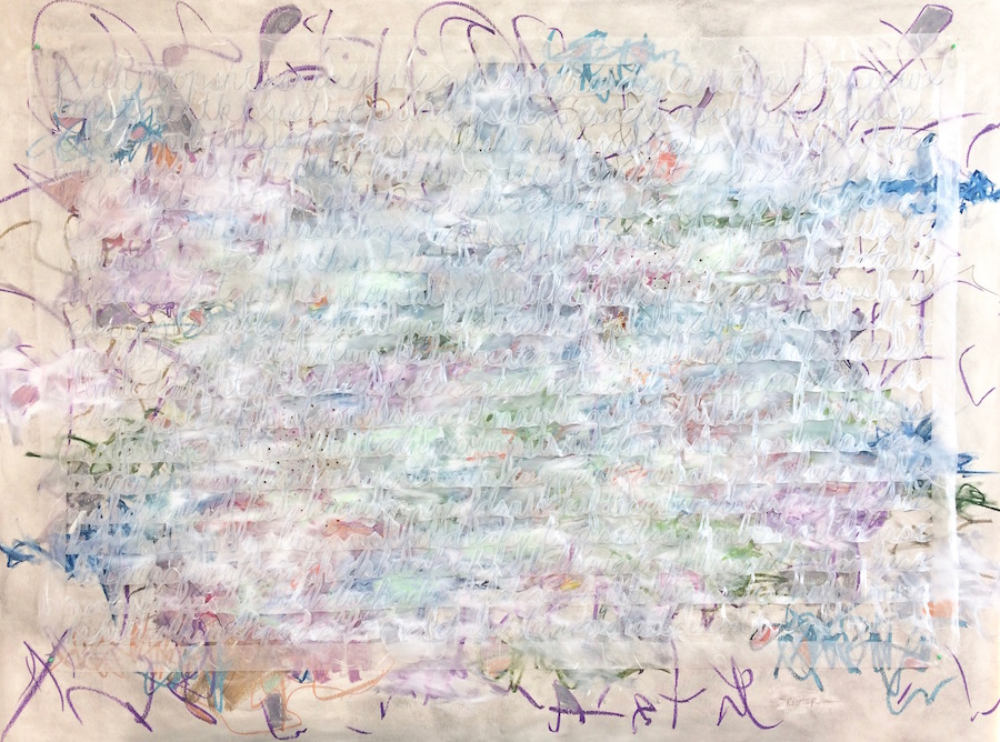 Somewhere in the Cloud...My Voice is Heard by Krista Reuter | Oil Pastel | Colored Pencil | Acrylic | Hand Cut Tissue Paper on Board
