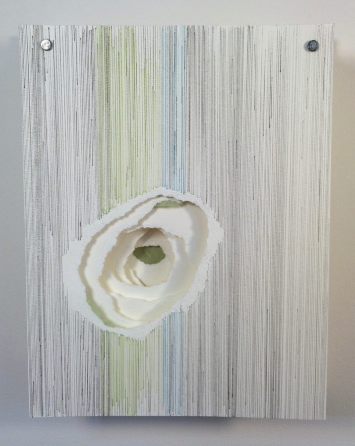 Striations II by Krista Reuter | 8 Layers of Hand Torn Paper | Ink | Japanese Paper Embellishments