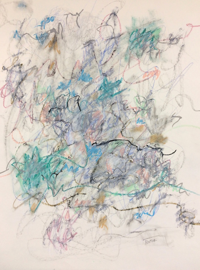 Take a Line for a Walk by Krista Reuter | Oil Pastel | Colored Pencil on Paper