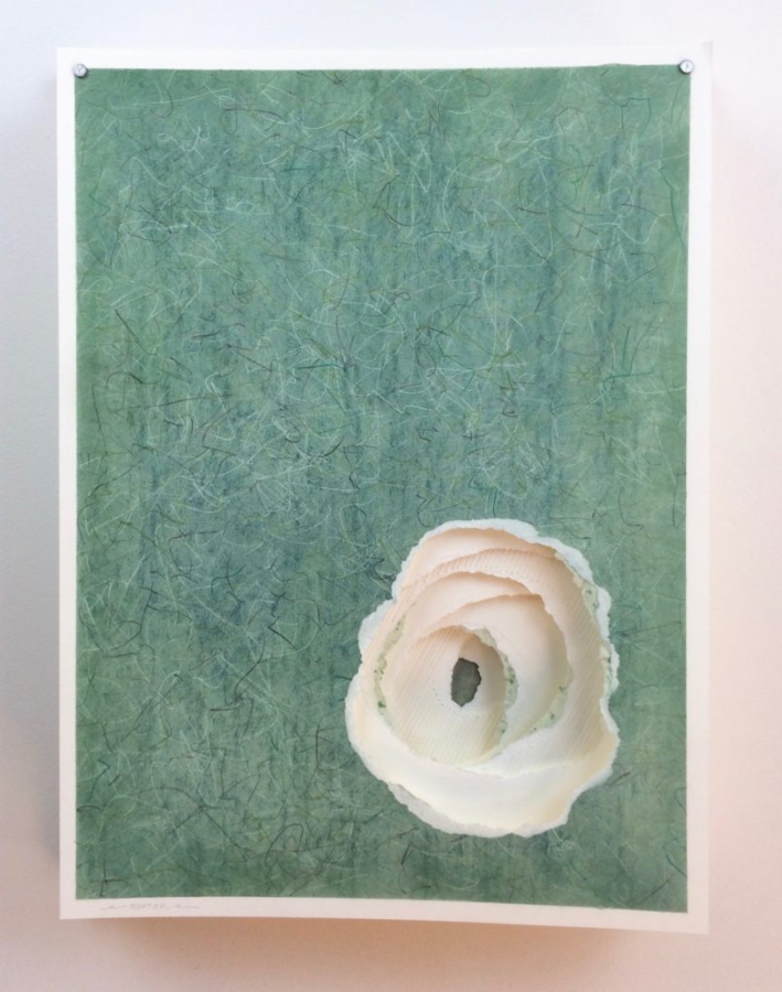 Layered Torn Paper | Colored Pencil | Graphite | Pastel | Handmade Paper | Embroidery